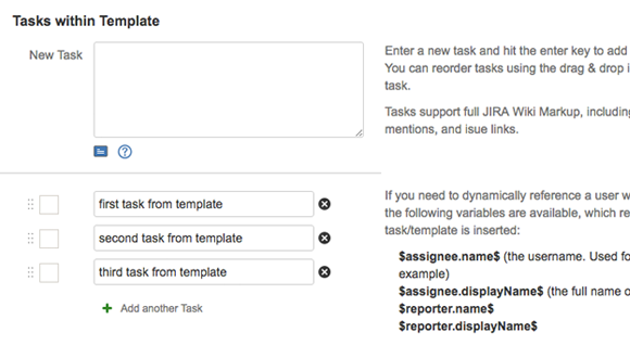Simple tasklists for jira for Jira task template